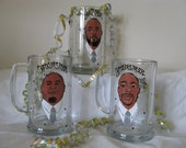 Hand Painted Groomsman Wedding  Beer Glass  Cartoon Portrait  Likeness Bride Bridesmaid Wine Beer Personalized