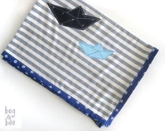 Baby Boy Blanket, Origami Boat Stroller Blanket, Baby Boy Gift, Single Layer Blanket