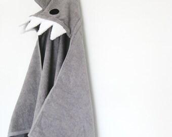 Shark Hooded Towel, Grey Bath Towel, Baby Gift