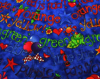 Blue Fabric with Primary Color Words