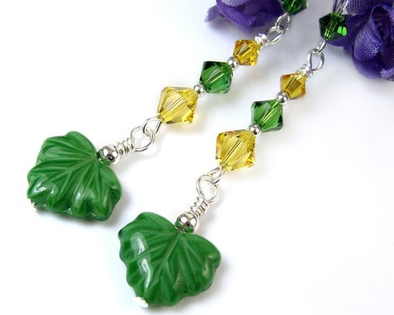 Green Yellow Leaf Earrings Swarovski Crystals Sterling Silver Long Dangles