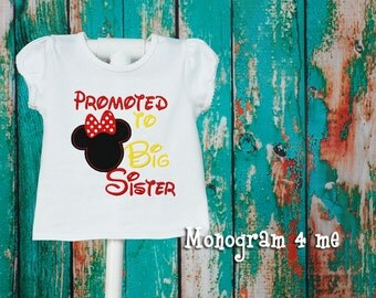 Minnie Mouse Promoted to Big Sister Girls Sibling Shirt, Big Sis
