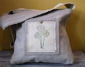 Mossy hand dyed messenger bag with dandelion stamp and pockets hemp