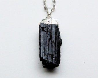 Black tourmaline sterling silver dipped necklace