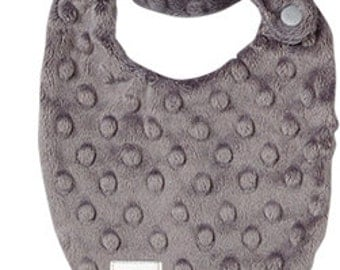 NEWBORN Baby Drooler Bib in Gray Dimple Minky - Perfect NEW baby gift - Free Shipping