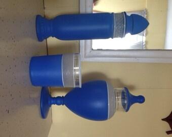 Vintage Tall Apothecary Jar Blue Painted Glass Candy Jar Terrariums Bath Salts Dresser Set Unused Old Stock