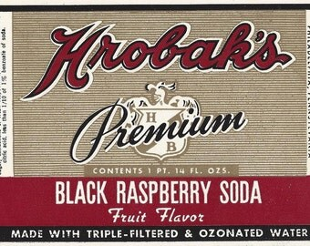 Hrobak's Black Raspberry Vintage Soda Label, 1940s