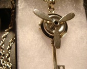 Steampunk Moveable Propeller Key Necklace (1225)