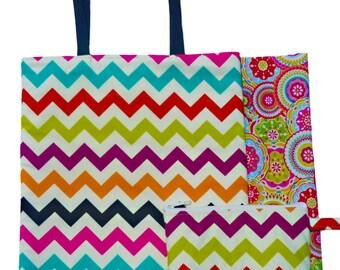 Chevron Multicolor Matching Set Reversible Tote Bag and Make-up Bag