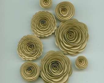 Frappaccino Cream Handmade Spiral Paper Flowers