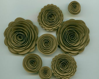 Java Bean Brown Handmade Spiral Paper Flowers