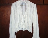 Vintage elegant white knitted woman's cardigan