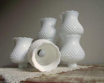 White Hobnail Glass Shades Set Of 6 Milk Glass Chimney
