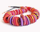 Violet, red and yellow  Necklace of Fimo