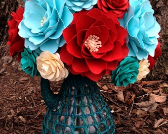 Paper Flower Bouquet - Wedding Bouquet - Bridal Bouquet - Teal and Red - Customize Your Colors - Made To Order