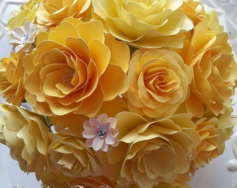 Paper Bouquet - Paper Flower Bouquet - Wedding Bouquet - Shades of Yellow - Custom Made - Any Color