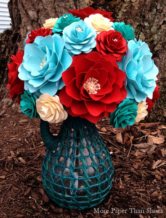 Handmade Paper Flowers - Paper Flower Bouquet - Wedding Bouquet - Bridal Bouquet - Teal and Red - Customize Your Colors - Made To Order