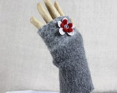 Fingerless Gloves Felted Lambswool Wool Up-cycled Grey Gray One Of A Kind