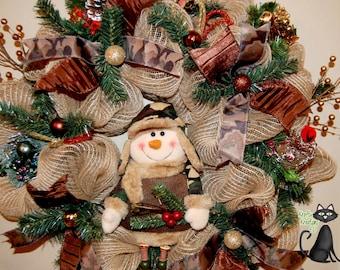 Christmas Camouflage Snowman Deco Mesh Wreath
