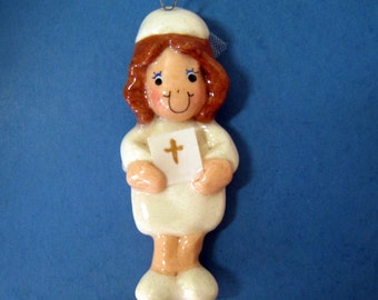 First Communion ornament handmade from bread dough