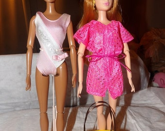 Pink bowed swimsuit, pink cover-up and yellow tote bag set for Fashion Dolls - ed604