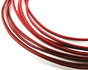 LRD0105005) 0.5mm Red Genuine Round Leather Cord. 1 meter, 3 meters, 5 meters, 10 meters, 20 meters, 50 meters.  Length Available
