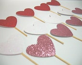 Valentines Day cupcake toppers, Valentines cupcake picks, Heart Cupcake Toppers, Sparkle cupcake toppers, Set of 12