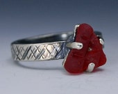 Red Sea Glass Sterling Ring, Sea Glass Ring, Sterling Ring, Triangle Sea Glass Ring, Red Sea Glass Ring