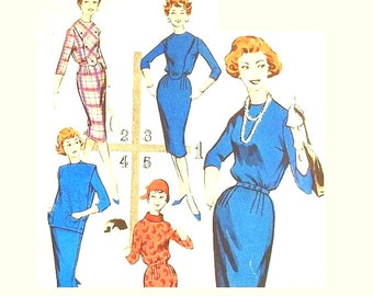 Vintage 1960s Dress Pattern Size 12 Bust 32 Butterick 8770 Collar Variations