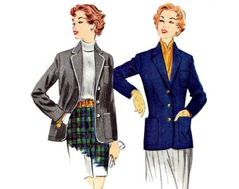 Vintage 1950s Blazer Pattern Plus Size 20 Bust 38 McCalls 9905