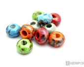 Porcelain Beads, 10pc AssortedPearlized Large Hole Clay Beads, 15x10mm