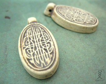 2pc Clay Knot Work Pendants, High Fired Ceramic Clay Pendant, Ceramic Beads, 30x18mm