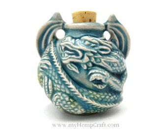 Dragon Pendant Ceramic Vessel, High Fired Clay Raku Glazed Finish