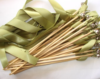 Wedding Wands: Set of 100 Single Ribbon Wands with bells - gold or silver - ribbon streamers birthday party surprise