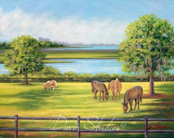 Horses grazing, horses eating, shetland pony, bay horse, chestnut horse painting signed art print