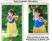 Snow White Dress DIY Kit, Includes all the fabric, trims, and pattern you need to make your own dress, Sizes 1/2-4