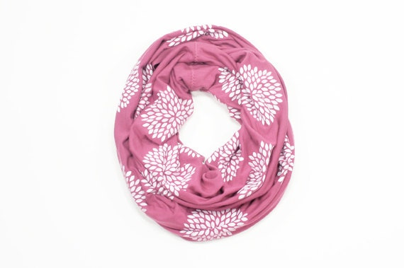 INFINITY SCARF - Screen Printed - White Flowers on Mauve