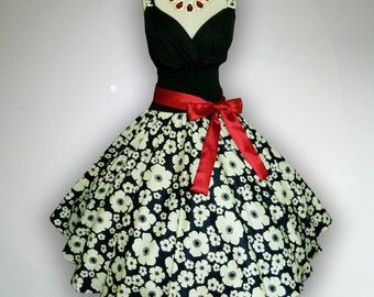 Gorgeous Black & White Floral 50s Pin up Rockabilly Swing Dress Full Swing Skirt size S M L