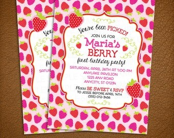 Strawberry Invitation, Berry First Birthday, Strawberry Baby Shower -- Printable Invitation in Any Color