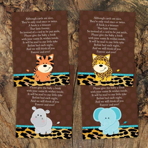 baby shower book inserts in jungle blue theme book instead of card