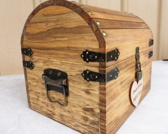 Wedding Card Box - Rustic Wood Treasure Chest with CARD SLOT and Lock-Key Set - ALL Inclusive