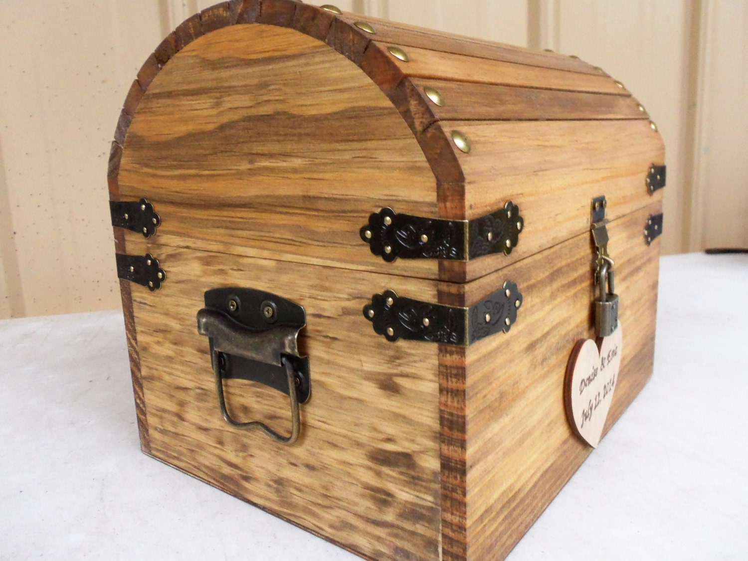 Wedding Card Box Rustic Wood Treasure Chest with CARD SLOT – Wedding Treasure Chest Card Box