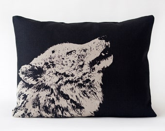 Lone Wolf Pillow- Tan