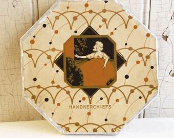 Vintage Art Deco Handkerchief Box - 1930s - Octagonal Cardboard Box - Elegant Lady Graphic - Orange, Black and Silver