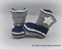 Baby Dallas Cowboy Boots, Crochet Cowboy Boots, Baby Booties, Dallas Cowboys, Baby Football, MADE TO ORDER, Newborn to 12 Months