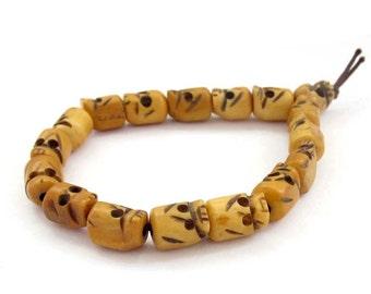 Tibetan Jewelry Ox Bone Prayer Beads Wrist Mala Bracelet  T3136