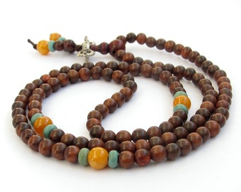 Chinese Fashion Style 108 5mm Rosewood Meditation Yoga Prayer Beads Mala  ZZ309