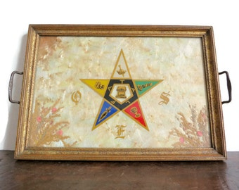 Vintage Serving Tray with Inlaid Wings