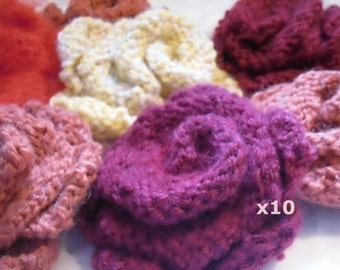 Ten Flower Brooches, Custom Colour Knitted Brooch  FREE UK SHIPPING