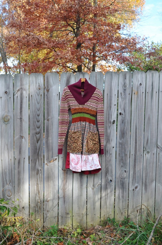 Boho Sweater Dress Artisan Smock Sweater Dress Upcycled